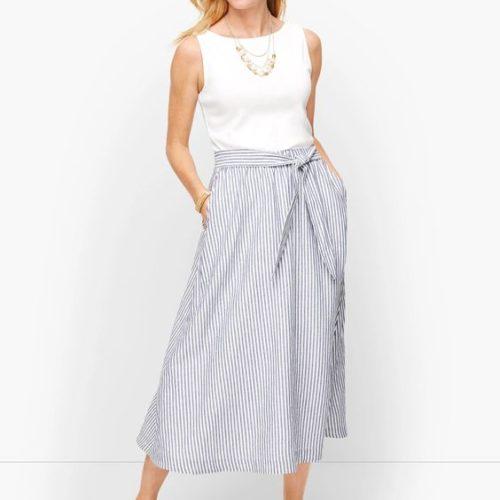 Talbot's linen midi skirt in blue stripe. Details at une femme d'un certain age.