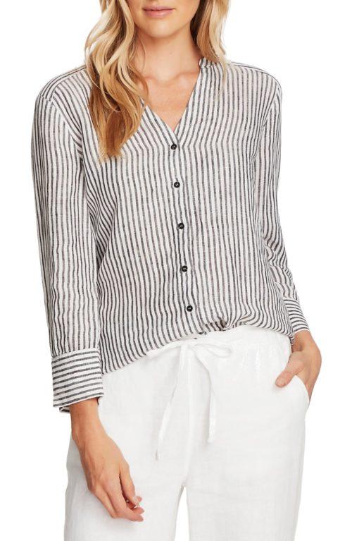 Vince Camuto stripe linen v-neck blouse. Details and more summer clothing on sale at une femme d'un certain age.