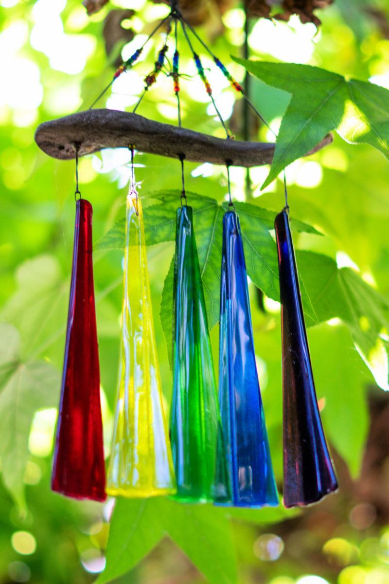 Rainbow glass windchimes. More garden inspiration at une femme d'un certain age.