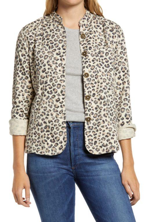 Caslon leopard print utility jacket from Nordstrom Anniversary Sale. Details at une femme d'un certain age.
