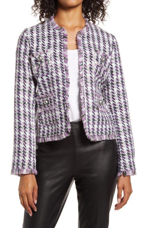Halogen lavender tweed lady jacket. Details at une femme d'un certain age.