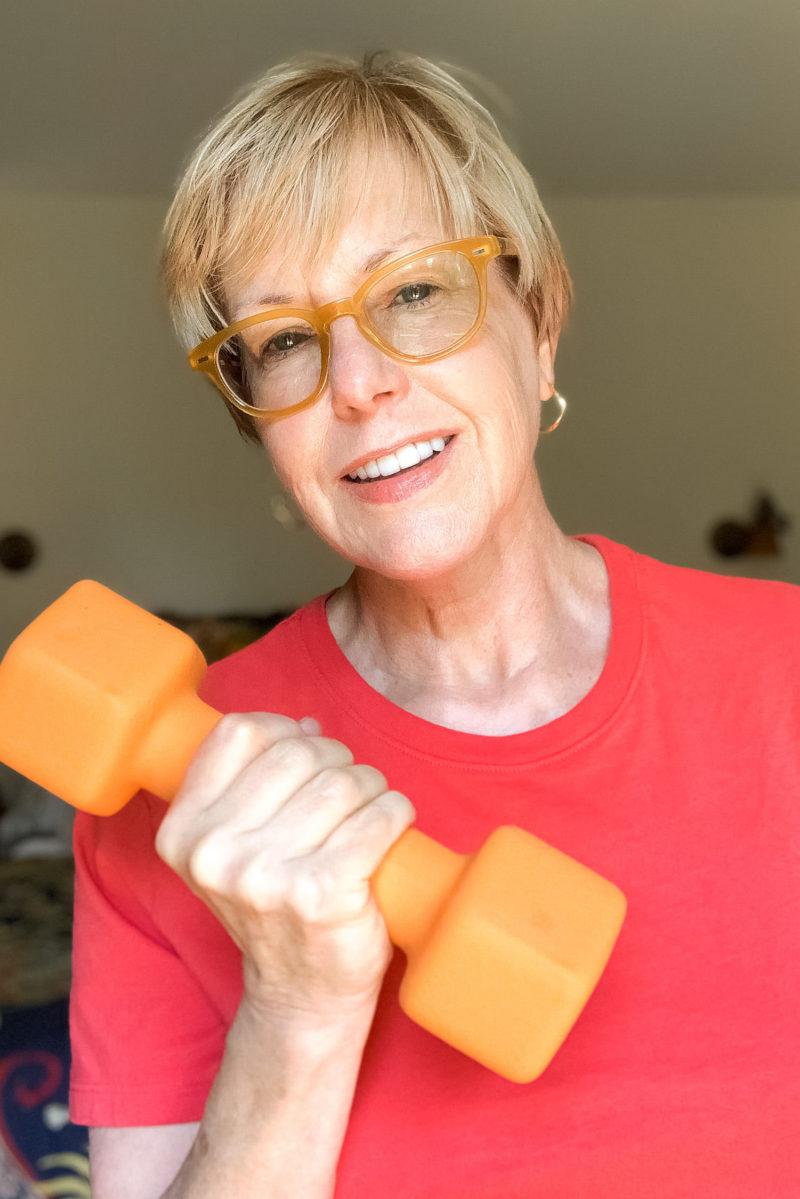 Susan B. after a strength training workout. Details at une femme d'un certain age.