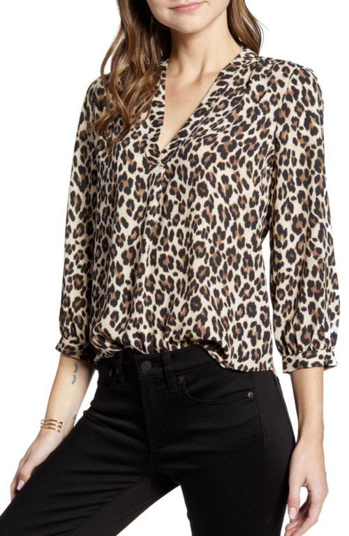 Vince Camuto leopard print v-neck top from Nordstrom anniversary sale preview. Details at une femme d'un certain age.