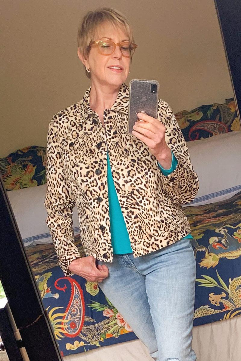 Susan B. wears a Chico's leopard print denim jacket. Details at une femme d'un certain age.