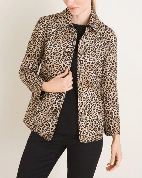 Chico's quilted animal print jacket. Details at une femme d'un certain age.