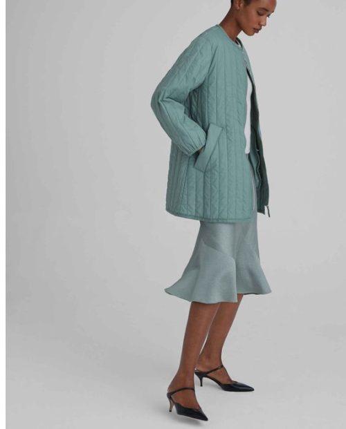 Club Monaco quilted long jacket. Details at une femme d'un certain age.