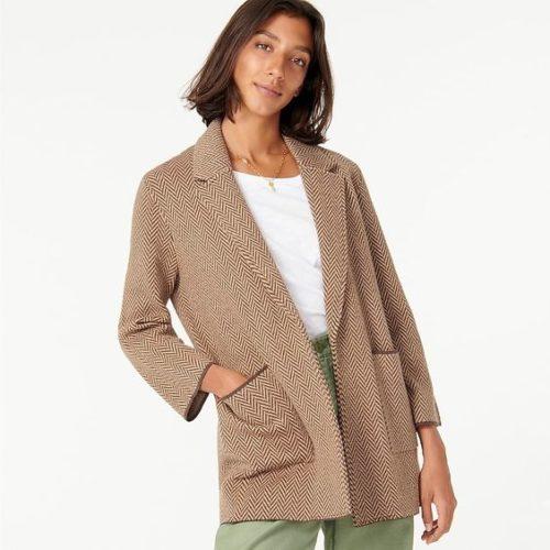 J.Crew Sophie sweater-blazer in Chevron. Details and more Labor Day Sale picks at une femme d'un certain age.