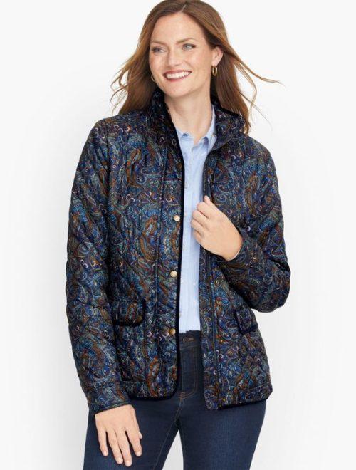 Talbot's paisley print quilted jacket. Details at une femme d'un certain age.