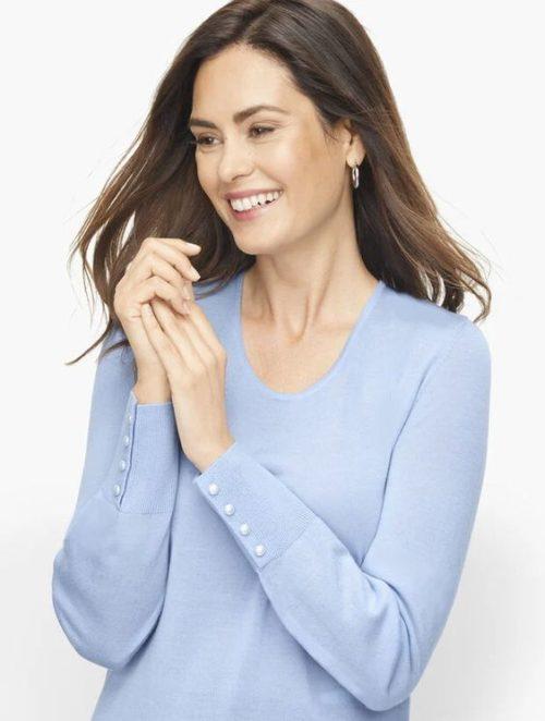 Talbot's soft merino v-neck sweater. Details at une femme d'un certain age.