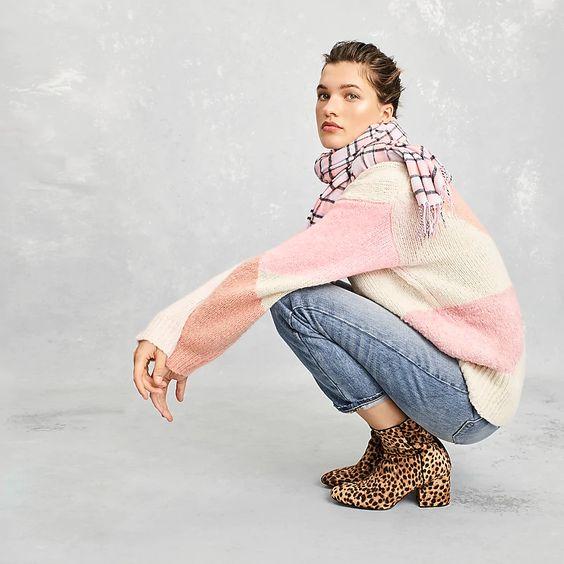 J.Crew pink tartan scarf, color block sweater, leopard print boots. Details at une femme d'un certain age.