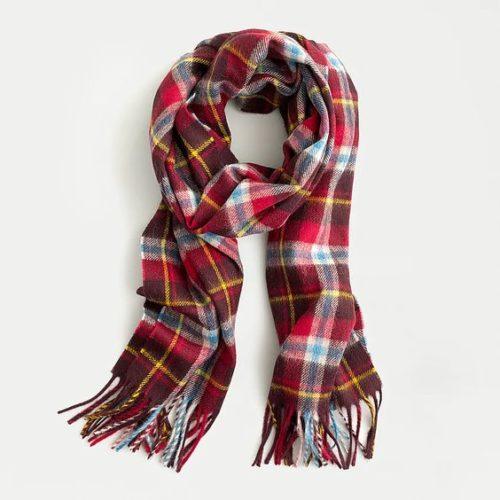 J.Crew Abraham Moon plaid wool scarf. Details at une femme d'un certain age.