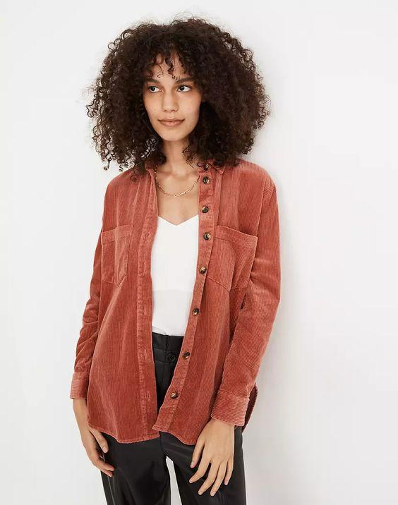 Madewell corduroy shirt jacket. Details at une femme d'un certain age