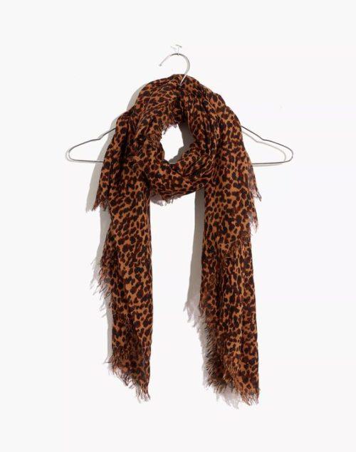 Madewell leopard print modal scarf. Details at une femme d'un certain age.