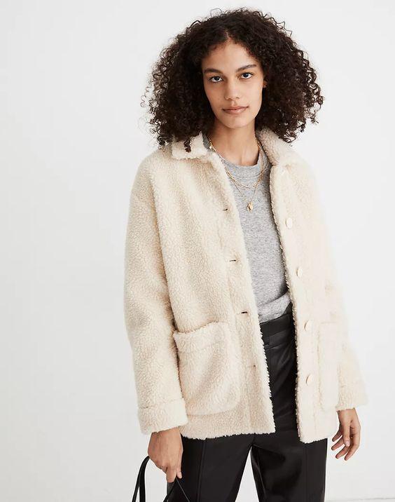 Madewell Walton sherpa jacket. Details at une femme d'un certain age.