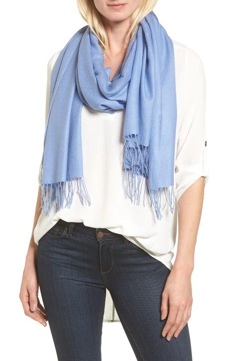 Nordstrom tissue weight wool cashmere scarf. Details at une femme d'un certain age.