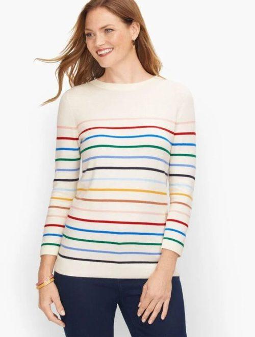 Talbot's multi-colored Breton stripe sweater. Details at une femme d'un certain age.
