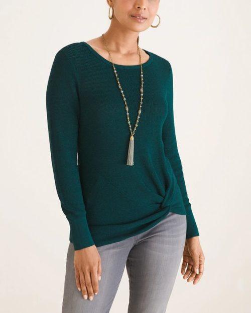 Chico's side twist cotton blend sweater. Details at une femme d'un certain age.