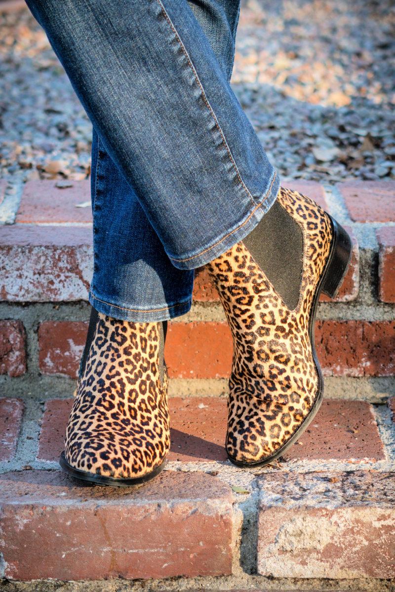 Cole Haan Newberg boots in water-resistant leopard print calf hair. Details at une femme d'un certain age.