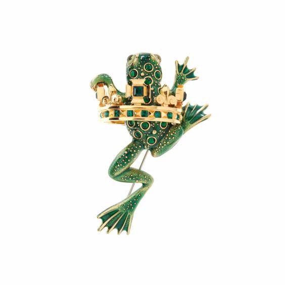 Frog Prince brooch. Details at une femme d'un certain age.