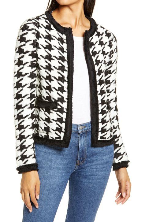 Halogen houndstooth sweater jacket. Details at une femme d'un certain age.