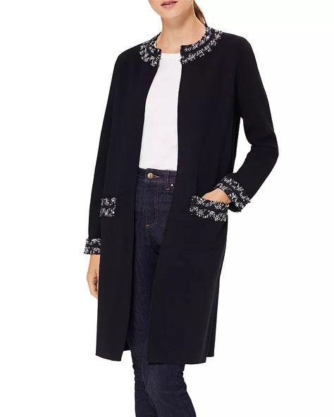 Hobbs London long navy coatigan with tweed trim. Details at une femme d'un certain age.