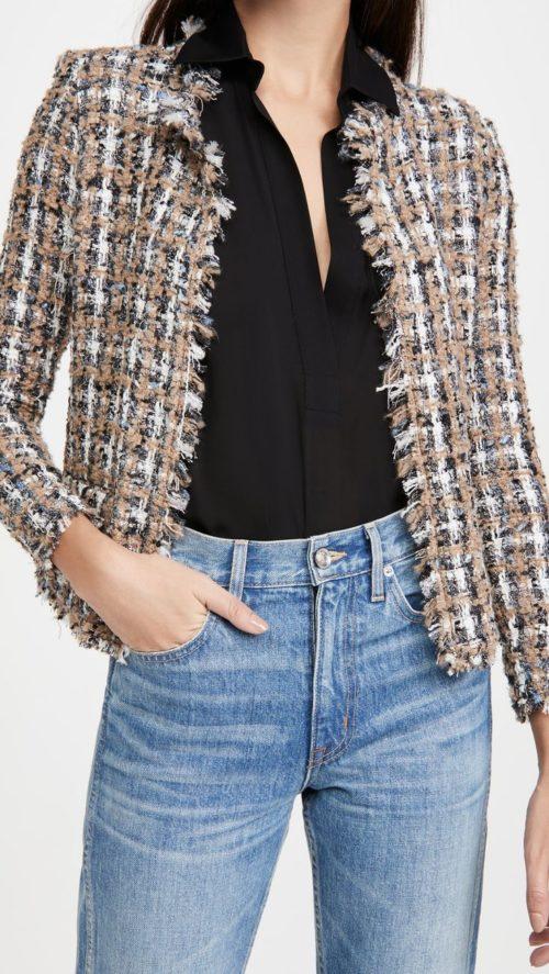 IRO plaid tweed knit jacket. Details at une femme d'un certain age.