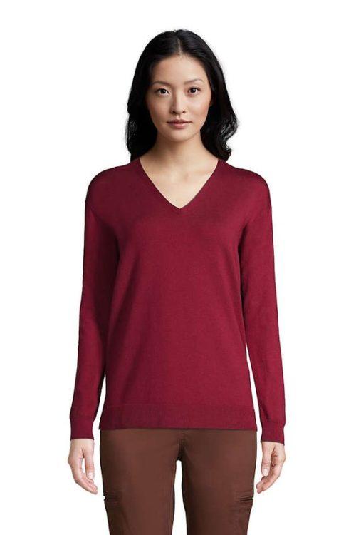Lands' End supima cotton v-neck sweater in burgundy. Details at une femme d'un certain age.