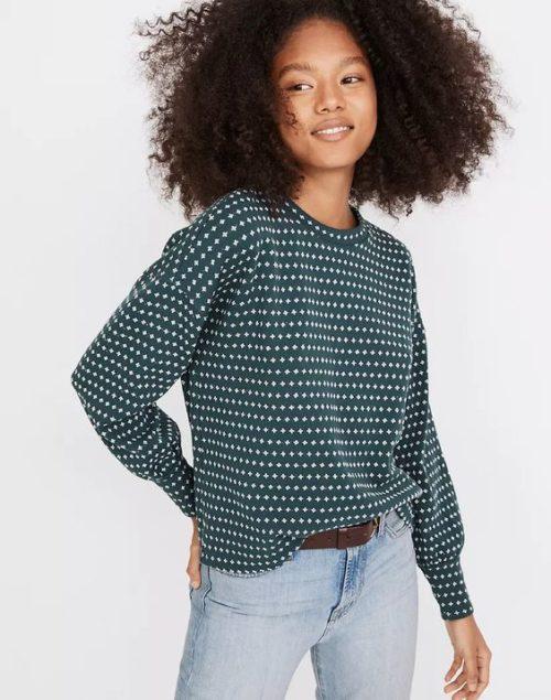 Madewell floral jacquard cotton blend sweater. Details at une femme d'un certain age.