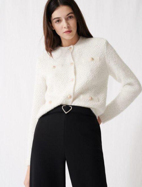 Maje lurex sweater jacket. Details at une femme d'un certain age.
