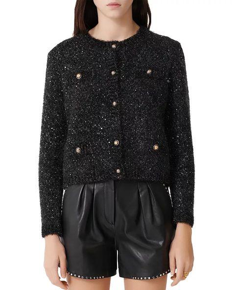 Maje sequined cardigan in black. Details at une femme d'un certain age.
