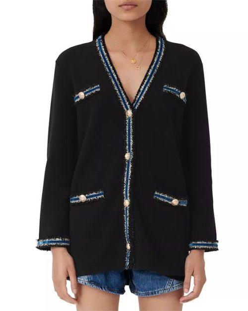 Maje tweed cardigan with metallic trim. Details at une femme d'un certain age.