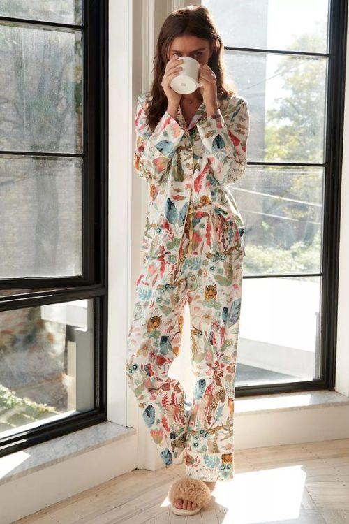Anthropologie Michelle Morin flannel pajama set. Details at une femme d'un certain age.