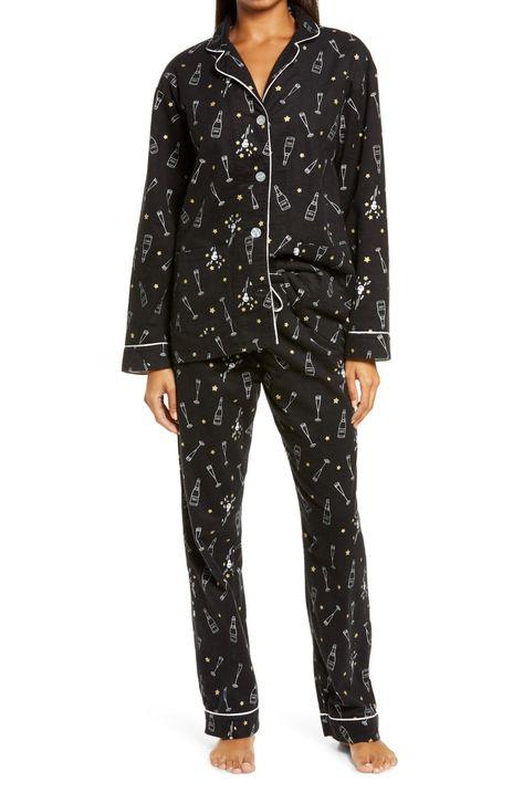 PJ Salvage flannel pajamas champagne print. Details at une femme d'un certain age.