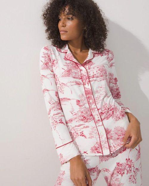 Soma toile print pajamas. Details at une femme d'un certain age.