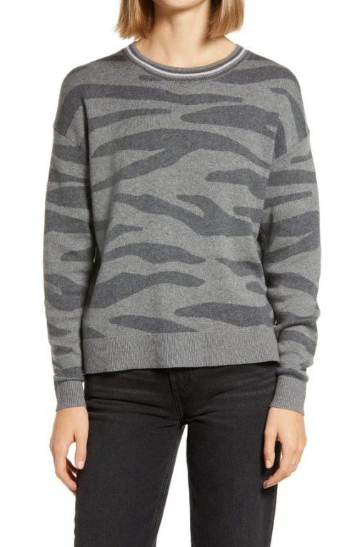 Splendid zebra print wool-free sweater. Details at une femme d'un certain age.