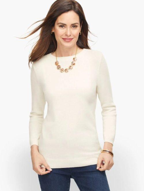 Talbots Audrey cashmere sweater in Ivory. Details at une femme d'un certain age.