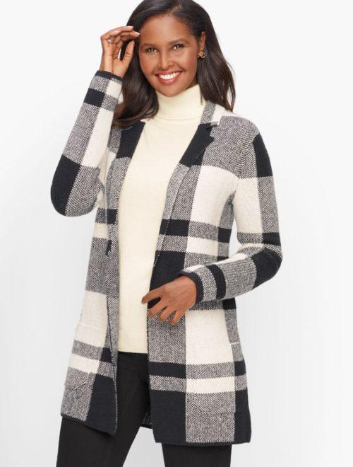 Talbot's plaid cotton blend sweater jacket in ivory/black. Details at une femme d'un certain age