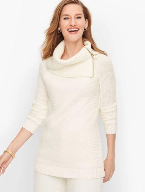 Talbots split neck cotton blend sweater in ivory. Details at une femme d'un certain age