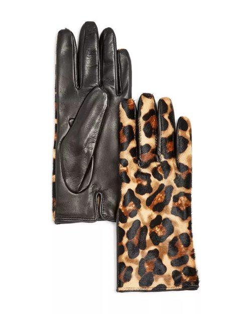 Leopard print cashmere lined gloves. Details at une femme d'un certain age.