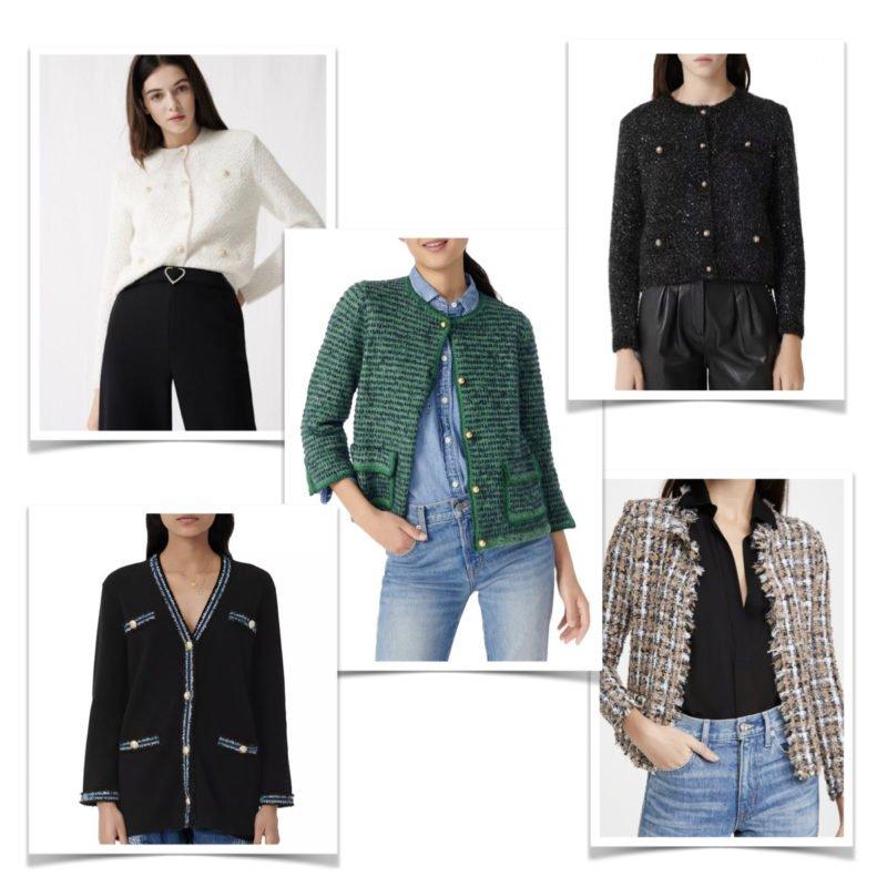 Classic tweed sweater jackets. Details at une femme d'un certain age.