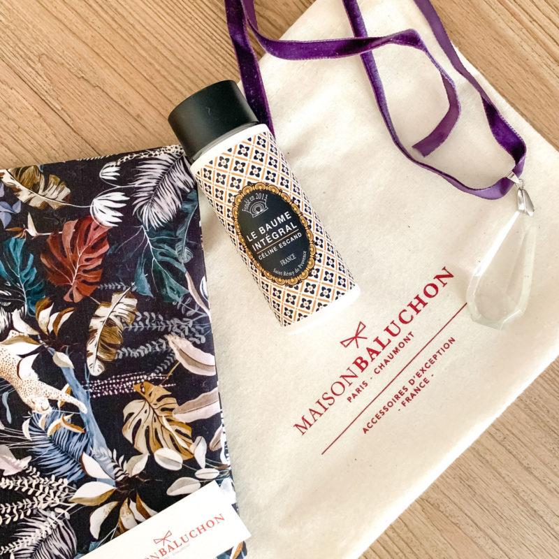 Details from November My Stylish French Box: a fabric pouchette, Celine Escand lotion, antique crystal pendant on velvet ribbon. Details at une femme d'un certain age.
