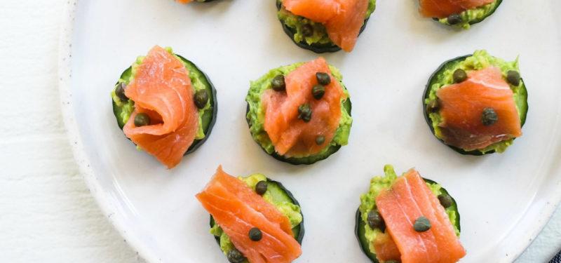 Salmon avocado bites. Details at une femme d'un certain age.