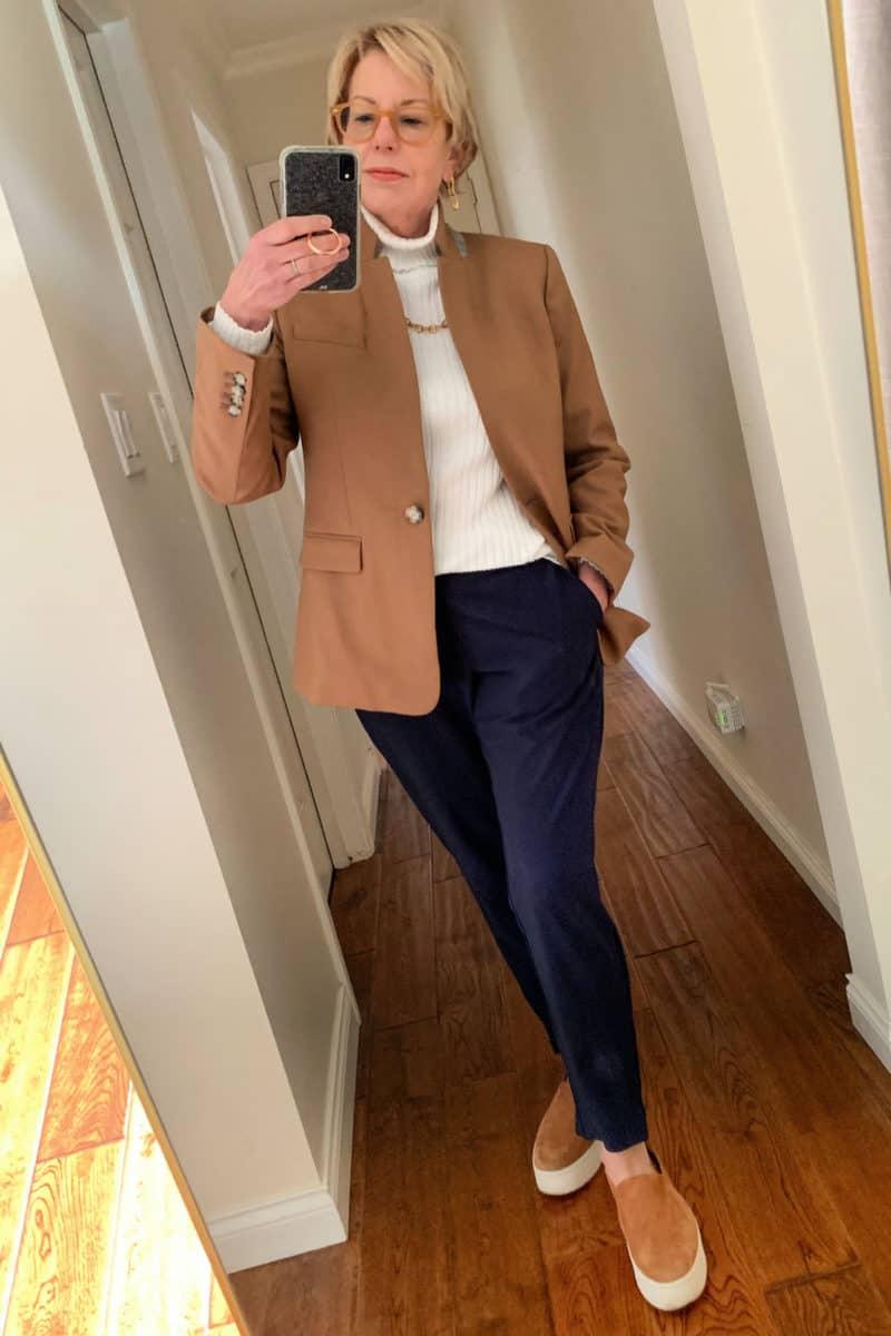 Zoom-ready outfit with a J.Crew blazer, turtleneck top and knit pants. Details at une femme d'un certain age.