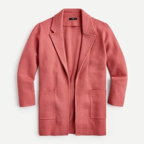 J.Crew Sophie sweater blazer in Rose Tile. Details at une femme d'un certain age.