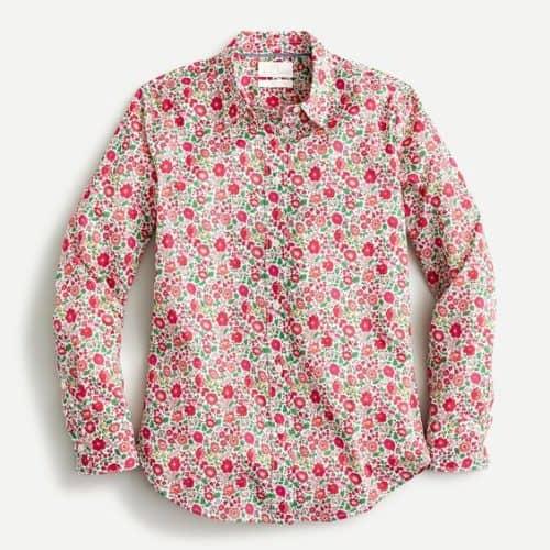 J.Crew slim fit Liberty Print shirt. Details at une femme d'un certain age.