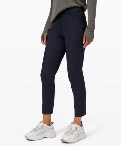 """Lululemon """"City Sleek"""" navy pants. Details at une femme d'un certain age."""