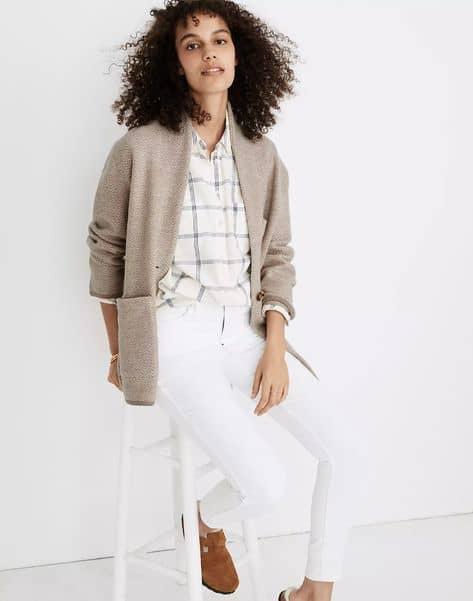 Madewell herringbone sweater coat. Details at une femme d'un certain age.