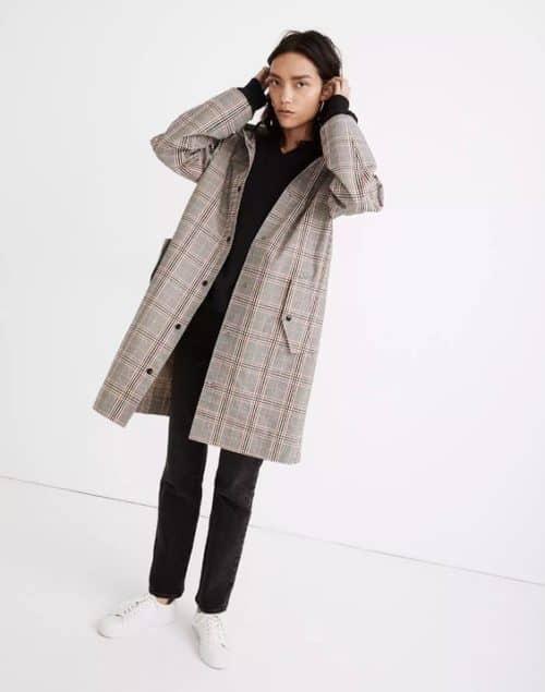 Madewell plaid hooded raincoat. Details at une femme d'un certain age.