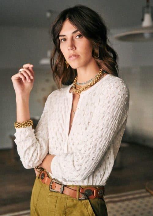 Sezane Phillipe sweater in textured cotton. Details at une femme d'un certain age.