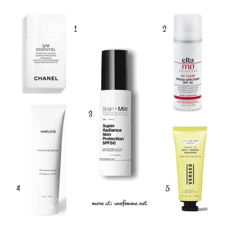 Susan B's favorite sunscreens & best sunscreens under makeup. Details at une femme d'un certain age.